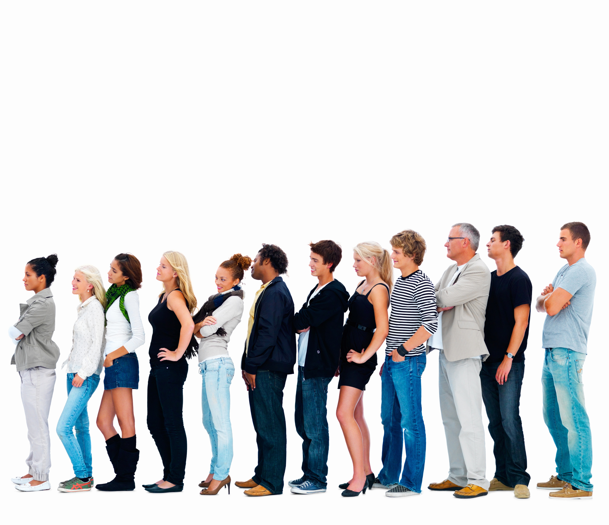 Group of happy friends standing in a row against white background